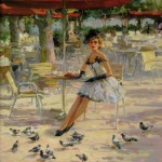 Summer cafe. Women in paintings by Russian artist Konstantin Razumov