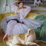Ballerina and a dog. Painting by Russian artist Konstantin Razumov