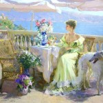 Sunny morning. Women in paintings by Russian artist Konstantin Razumov