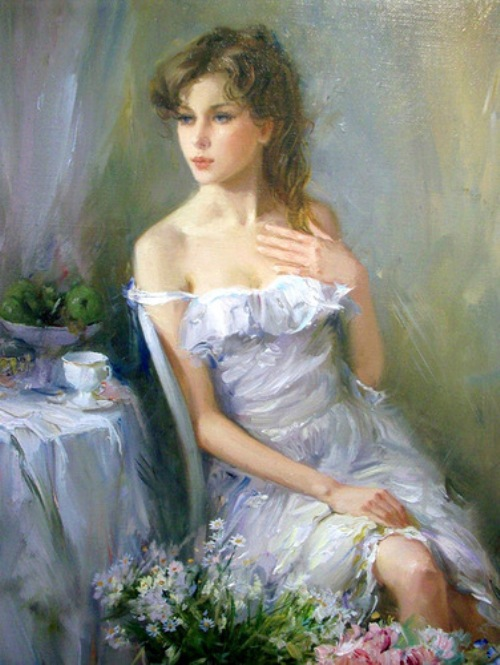 Good morning. Women in paintings by Russian artist Konstantin Razumov