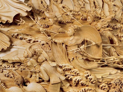 Detail of Wood carving paintings made by Dongyang craftsmen in China