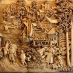 Provincial life of ancient Rus. Woodcarving by Russian artist Kronid Gogolev