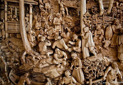 Detail of Woodcarving by Russian artist Kronid Gogolev