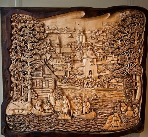 Framed woodcarving by Russian artist Kronid Gogolev
