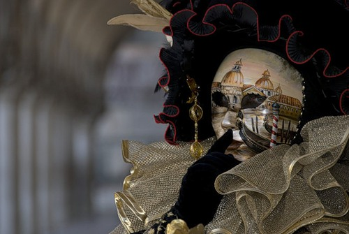 The mask as canvas for painting. Venice Carnival