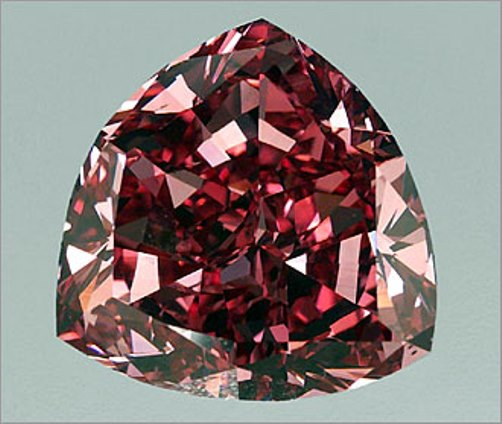 The largest Fancy Red, natural color diamond. The stone is a triangular brilliant, sometimes referred to as a trillion or a brilliant cut