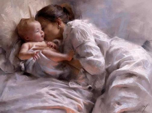 Mother and child. Painting by Spanish artist Vicente Romero