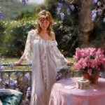 Summer garden. Painting by Spanish artist Vicente Romero