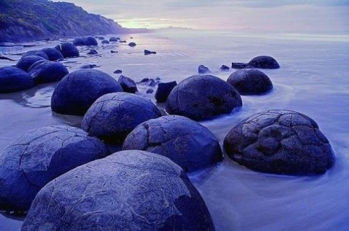 Moeraki Boulders came to us from another planet, Koekohe Beach, Otago coast of New Zealand.