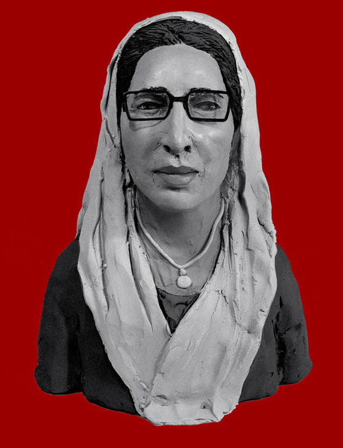 Benazir Bhutto (assassinated 2007). Plasticine sculpture by British artist Karen Caldicott