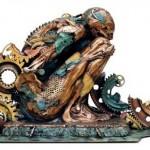 Mechanical man. Bronze sculpture by Colombian artist Nano Lopez