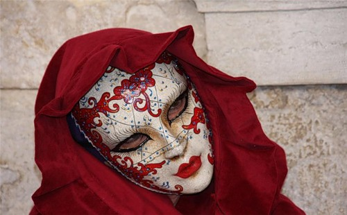 Stunningly beautiful carnival costumes of participants of Pre-Lenten Carnevale in Italy