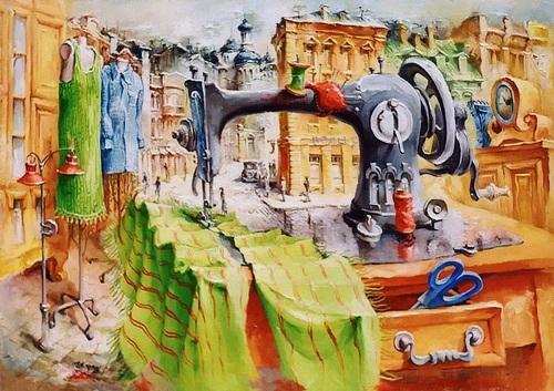 Sewing machine in the fashion city. Painting by Ukrainian artist Vladimir Tarasenko