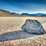 In the process of walking, stones of Death Valley