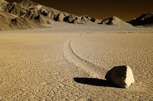 Moving stones of Death Valley