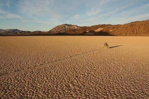 Amazing walking stones of Death Valley