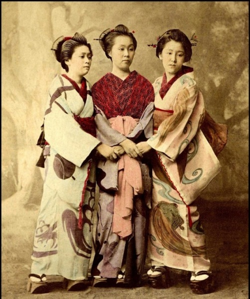 Retro photo of Japanese entertainers, Geisha
