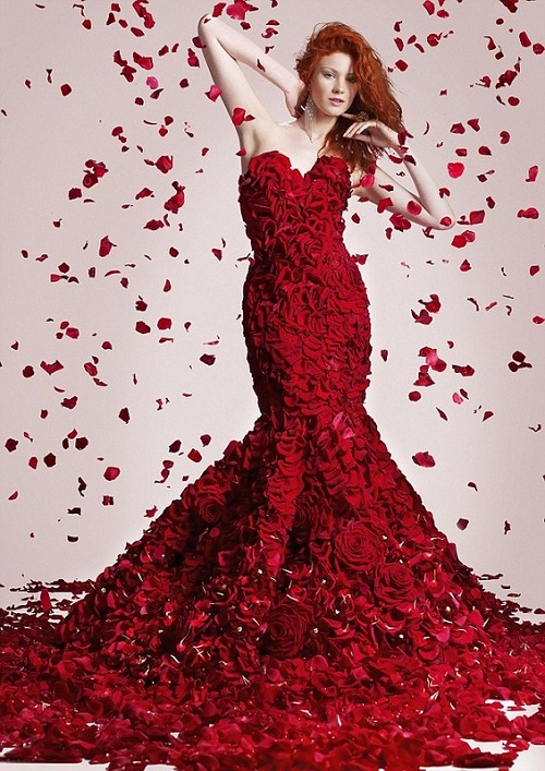 Two stone Valentine's Day dress made from flowers