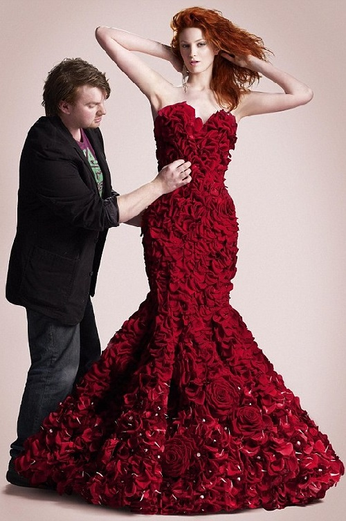 Valentine's Day dress made from flowers