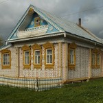 Located in Ivanovo region country house decorated with wooden lace. Work by Russian wood carver Konstantin Muratov