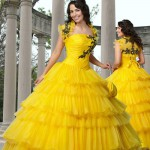 Wedding dress of yellow color