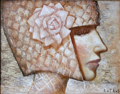 Exquisite patterns and textile in portraits of beautiful women. Painting by Lithuanian artist Arunas Rutkus