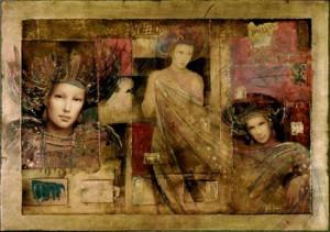 His feminine figures evoke the stylized beauty of Botticelli's Venus