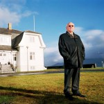 Mikhail Gorbachev in front of the Hofdi House in Reykjavik, during a return visit to Iceland in October 2006.