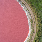 Multicolored salt evaporation ponds