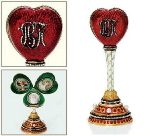 Frame – a surprise in the shape of a heart – a surprise purple imperial Easter egg, which is lost, it was of gold, enamel and precious stones. Stamp – Faberge, made in 1897