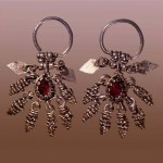 Earrings 17th Century. Silver, glass, and granulation. Length of 4.5 cm. Russian Museum of Ethnography, St. Petersburg