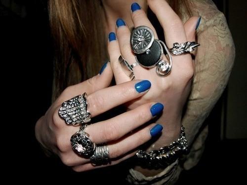 Wearing lots of rings