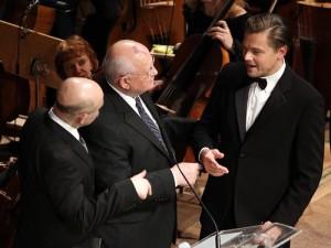 Mikhail Gorbachev and actor Leonardo DiCaprio