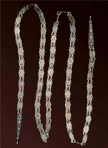 The chain. Fragment. 18 - 19 century, Silver, casting, enamel. Length of 80.0 cm. Russian Museum of Ethnography, St. Petersburg
