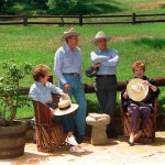 Former US President Ronald Reagan, his wife Nancy, former Soviet President Mikhail Gorbachev and his wife Raisa chat 03 May 1992 in the front yard of the Reagan's ranch in Santa Barbara