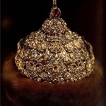 """Diamond Crown, 1682 - 1684. Gold, silver, precious stones, furs, molding, embossing, enamel. Height 28.3 cm circumference of 65 cm. State Historical and Cultural Museum-Preserve """"Moscow Kremlin"""". Belonged to Peter Alekseevich. Of the workshop of the Moscow Kremlin."""
