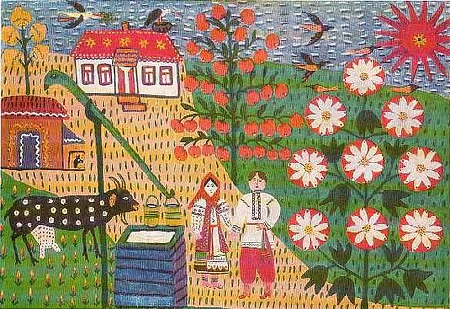 Naive painting by Maria Prymachenko, Ukrainian village folk art painter