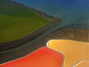 Beautiful salt evaporation ponds in San Francisco Bay