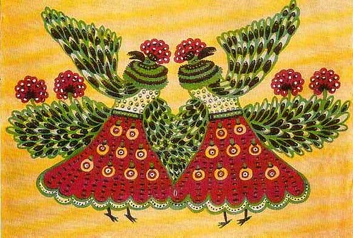 Farm animals. Naive art by Maria Prymachenko