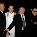 London, June 2. (L-R) Alexander Lebedev, David Furnish, Mikhail Gorbachev and Sir Elton John attend the Raisa Gorbachev Foundation Party at Stud House, Hampton Court Palace on June 2, 2007 in Richmond upon Thames, London, England. The night is in aid of the Raisa Gorbachev Foundation - an international fund fighting child cancer.