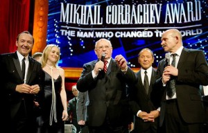 London, March 30. (L-R) Kevin Spacey, Sharon Stone, Mikhail Gorbachev Paul Anka on stage during the finale of the Gorby 80 Gala at the Royal Albert Hall on March 30, 2011