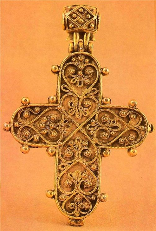 Cross, 13 - 14 century. Silver, filigree. The Armoury, Moscow