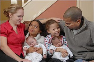 Alison and Dean Durrant with two sets of twins