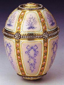 Egg with enamel panels. Made probably in the years 1885-1891 the imperial jeweler Carl Faberge firm. Master jeweler – Michael Perkhin