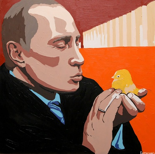 Kitsch art tribute to Vladimir Putin. A Man with a heart of gold. Painting by Russian artist Alexei Sergiyenko, St. Petersburg
