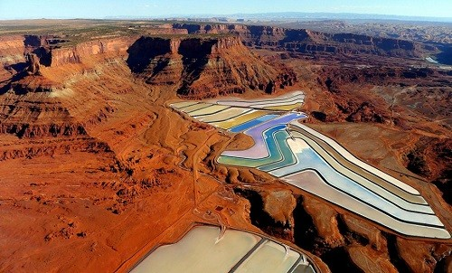 A view of the solar evaporation ponds at the Moab, Utah Intrepid Potash facilities, operating since 1972