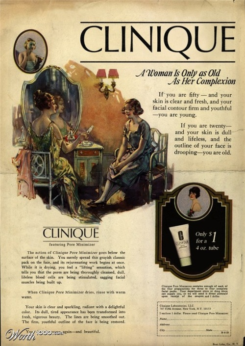 A woman is only as old as her complexion. Absurd Vintage Ads