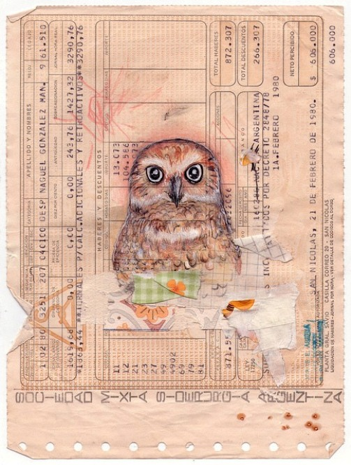 Pencil drawing on a ticket -Owl