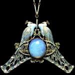 Peacock pendant. Art Nouveau jewellery by Lalique