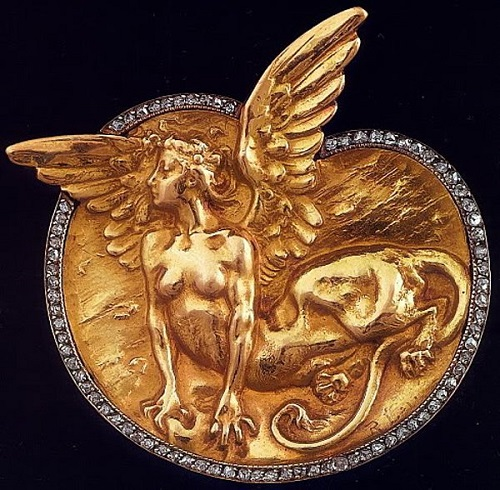 Mythological character. Buckle. c. 1903-1904. Gold, diamonds. Art Nouveau